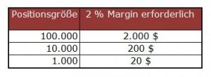 Positionsgröße Margin